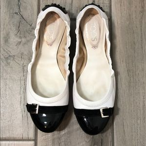 Tod's White Leather Ballet Flats - size 8.5